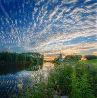Бесплатные фото Нидерланды,Аван,Гельдерланд,закат,река,мельница,деревья