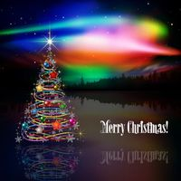 Новогоднее северное сияние с елкой