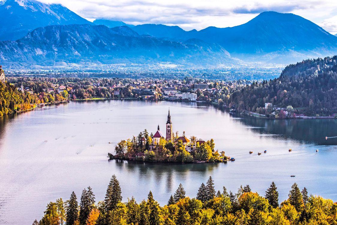 Фото бесплатно Bled, Bled Lake, Озеро Блед, Остров Блед, Словения, пейзажи