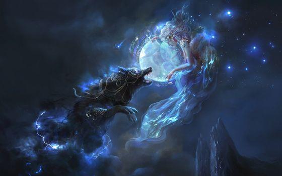 Заставки фантастическая девушка, волк, огни