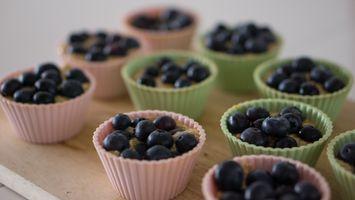 Бесплатные фото выпечка,кексы,ягоды,черника