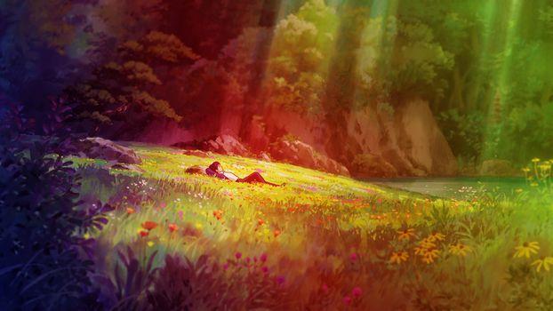 Заставки аниме пейзаж, аниме мальчик, лежа