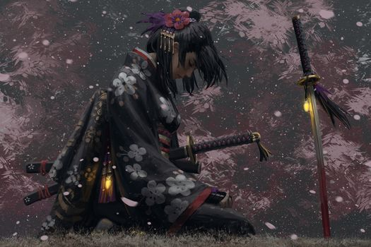Photo free fantasy asian girl, a samurai, uniform