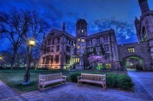 Бесплатные фото Университет,Чикаго,Колледж,Университетский городок,ночь