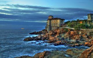 Фото бесплатно закат, море, замок