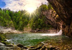 Фото бесплатно водопад, стена, пещера