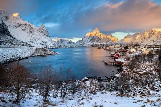 Красивые обои норвегия, лофотенские острова
