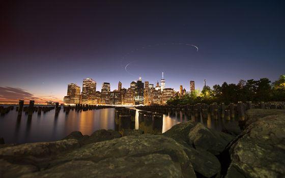 Фото бесплатно Нью-Йорк, городской пейзаж, сумрак