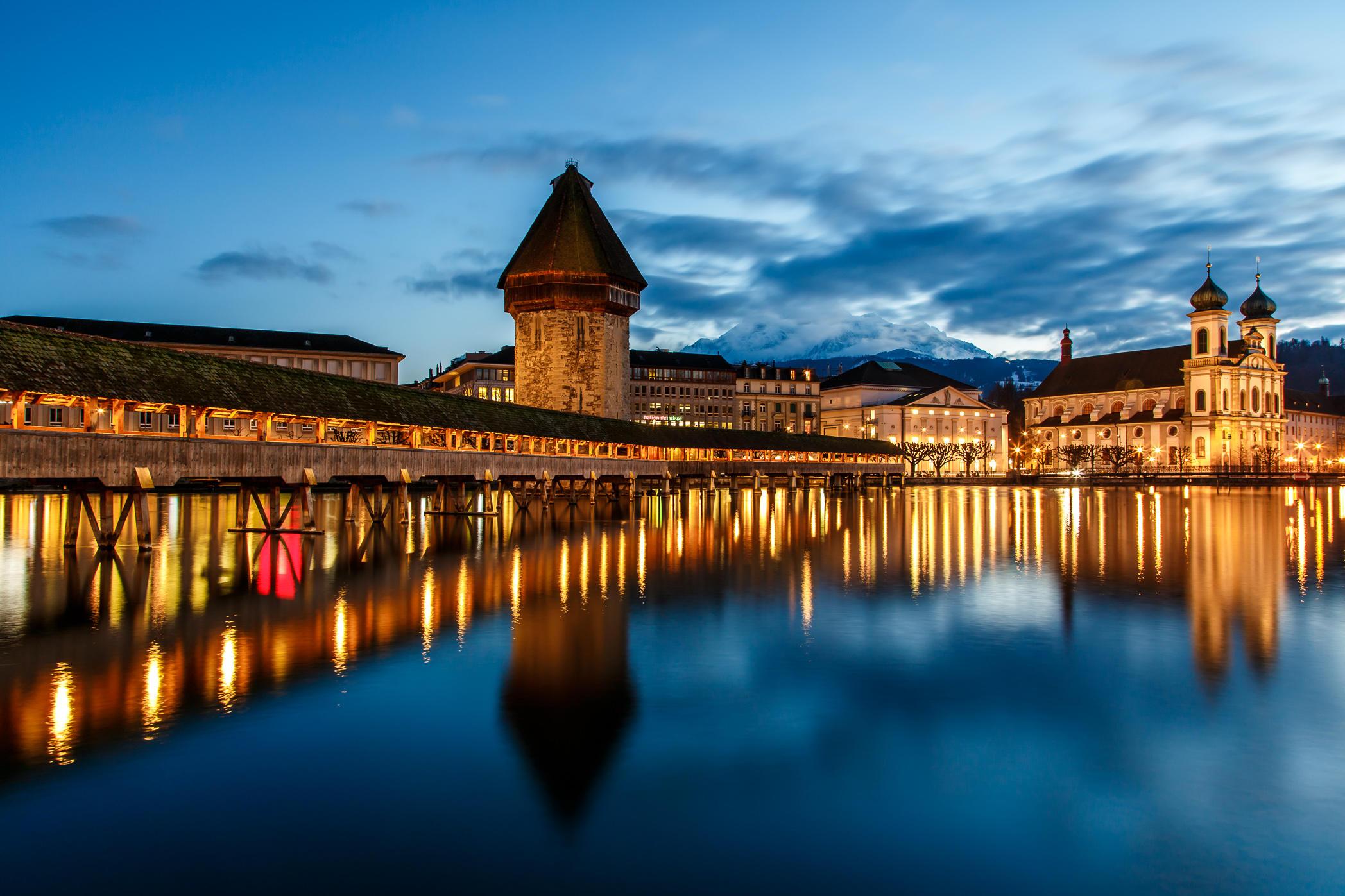 Обои Chapel Bridge, Lucerne, Часовенный мост, Люцерн