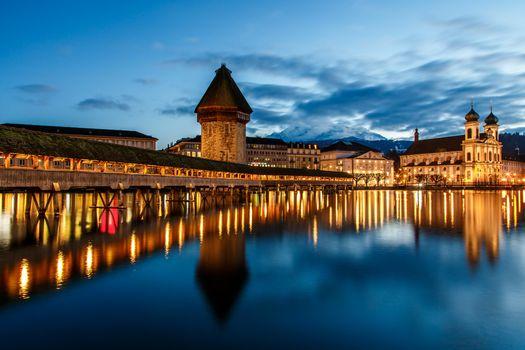 Фото бесплатно Chapel Bridge, Lucerne, Часовенный мост, Люцерн, Швейцария