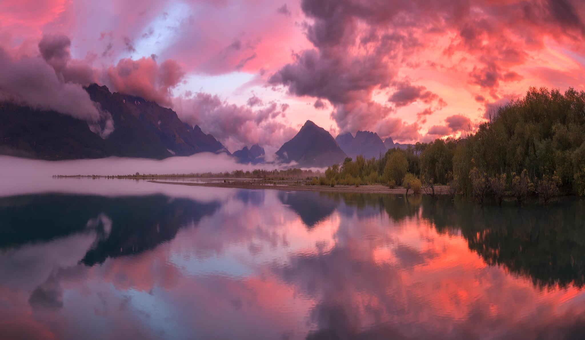 восход солнца в Гленорчи, Новая Зеландия, река, горы, деревья, пейзаж