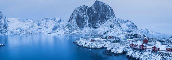 Обои Лофотенские острова, Рейне, Reine, Норвегия, Lofoten, Lofoten Islands, Hamnoy, Norway, панорама