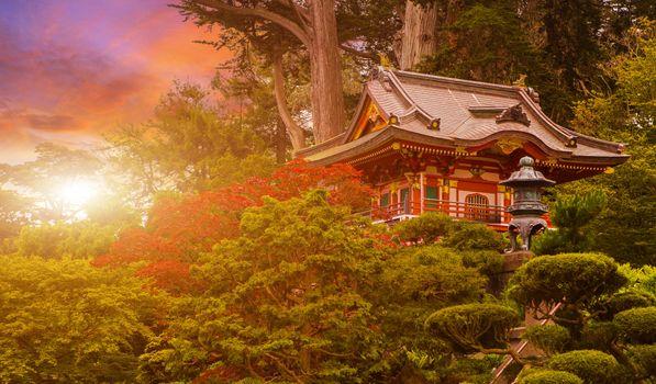 Photo free Japanese temple sunset, San Francisco, United States