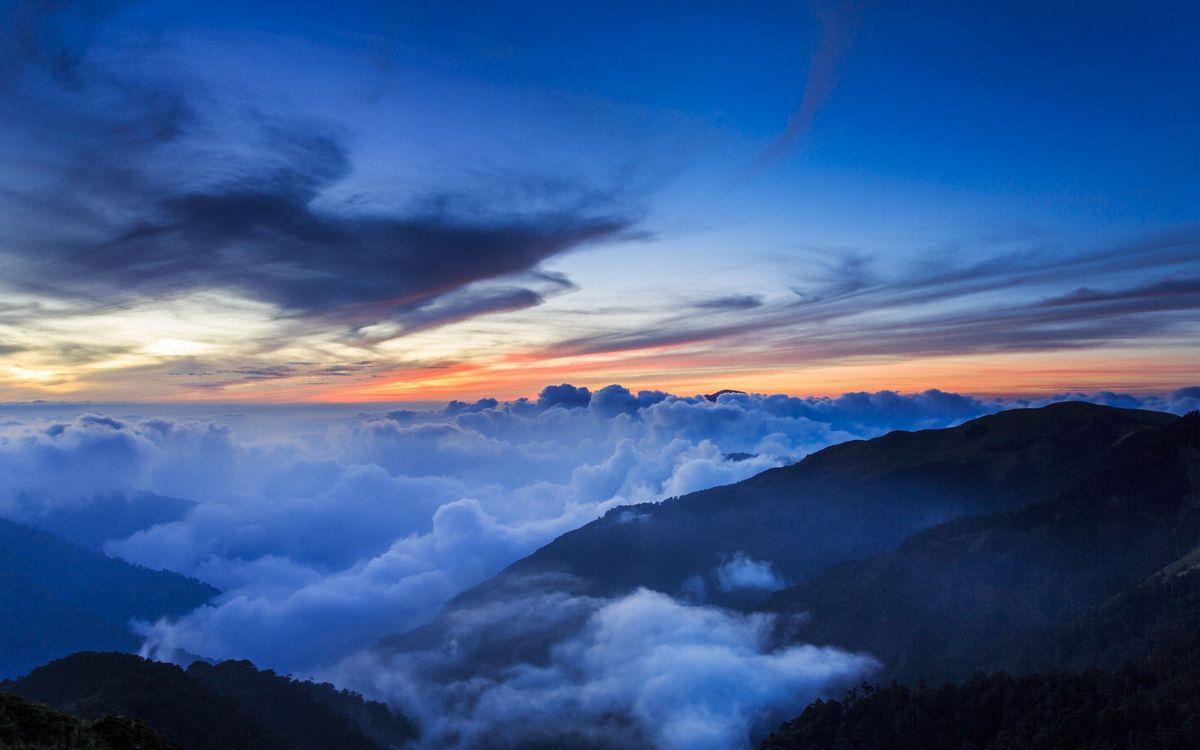 Фото вечер горный хребет солнечный свет - бесплатные картинки на Fonwall