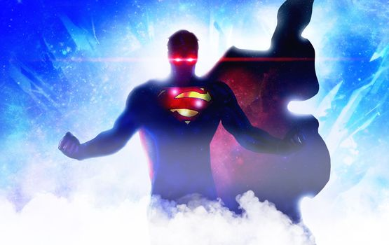 Фото бесплатно супермен, произведение искусства, красные глаза