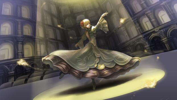 Фото бесплатно обои аниме девушка, танцы, платье