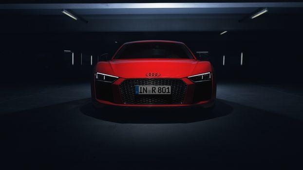 Photo free audi r8 v10 plus, red, luxury cars