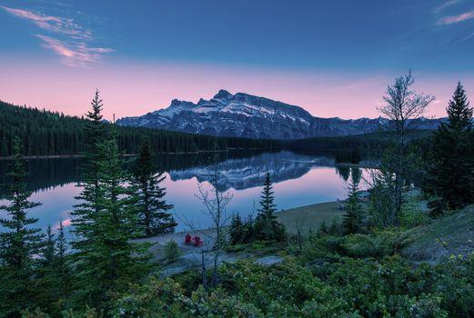 Photo free Mount Rundle Reflecting, Two Jack Lake, Banff National Park