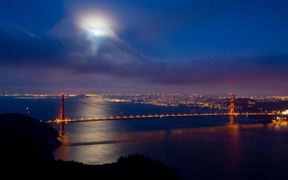 Заставки Сан-Франциско, золотые ворота, ночь
