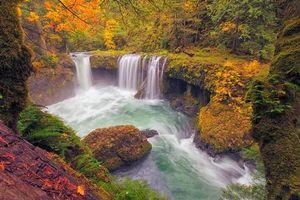 Бесплатные фото осень,водопад,река,скалы,лес,деревья,пейзаж
