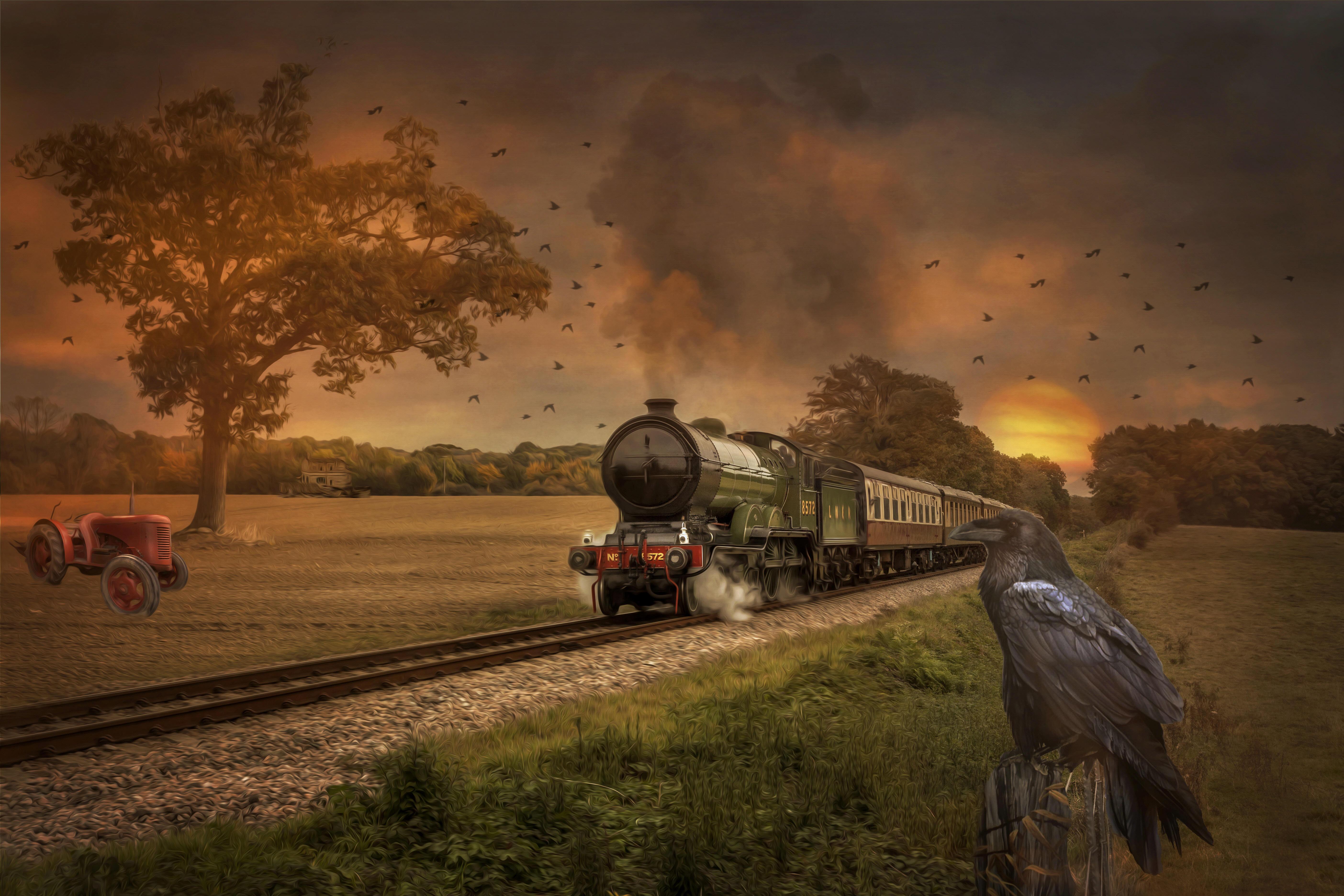 Обои закат, поле, железная дорога, паровоз