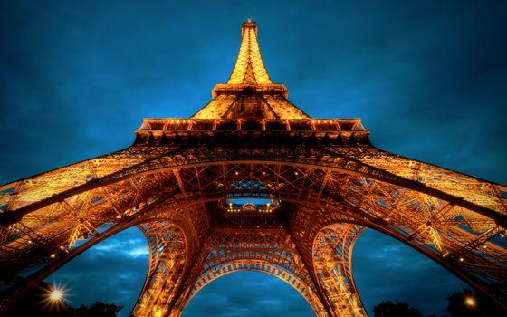 Фото бесплатно Эйфелева Башня, hdr, вид снизу