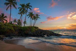 Бесплатные фото Maui,Hawaii,закат,море,пальмы,пляж,пейзаж