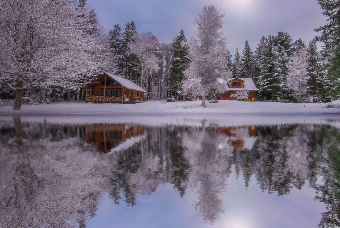 Зимнее озеро · бесплатное фото