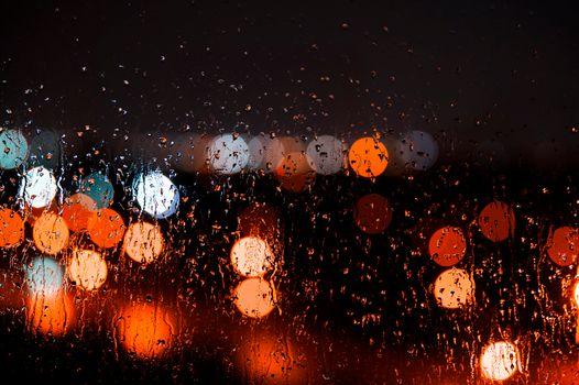 Заставки мокрое стекло, капли, огни