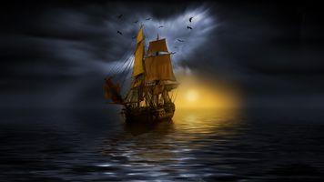 Фото бесплатно парусник, небо, море