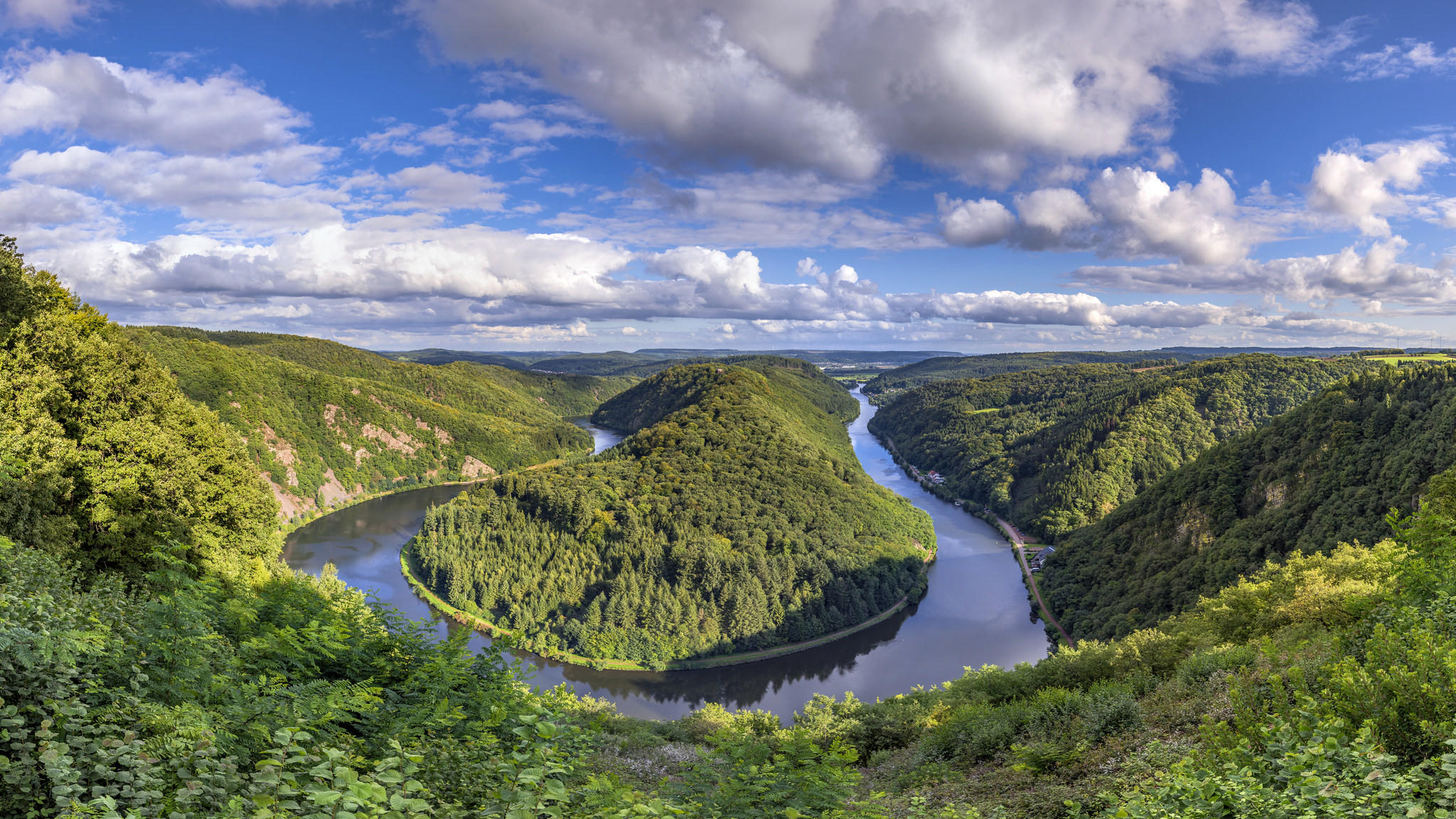 Обои Saarschleife, река Саар, Метлах, Оршхольц