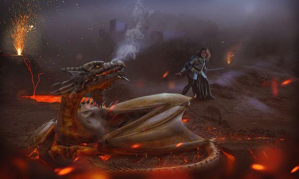 Фото бесплатно дракон, воин, фантастика