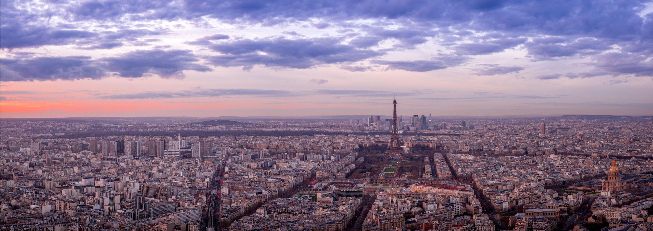 Обои Париж, Франция закат, панорама картинки на телефон