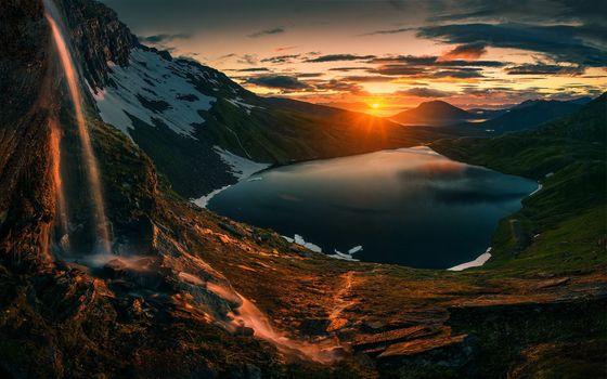 Фото бесплатно закат, озеро, тропа