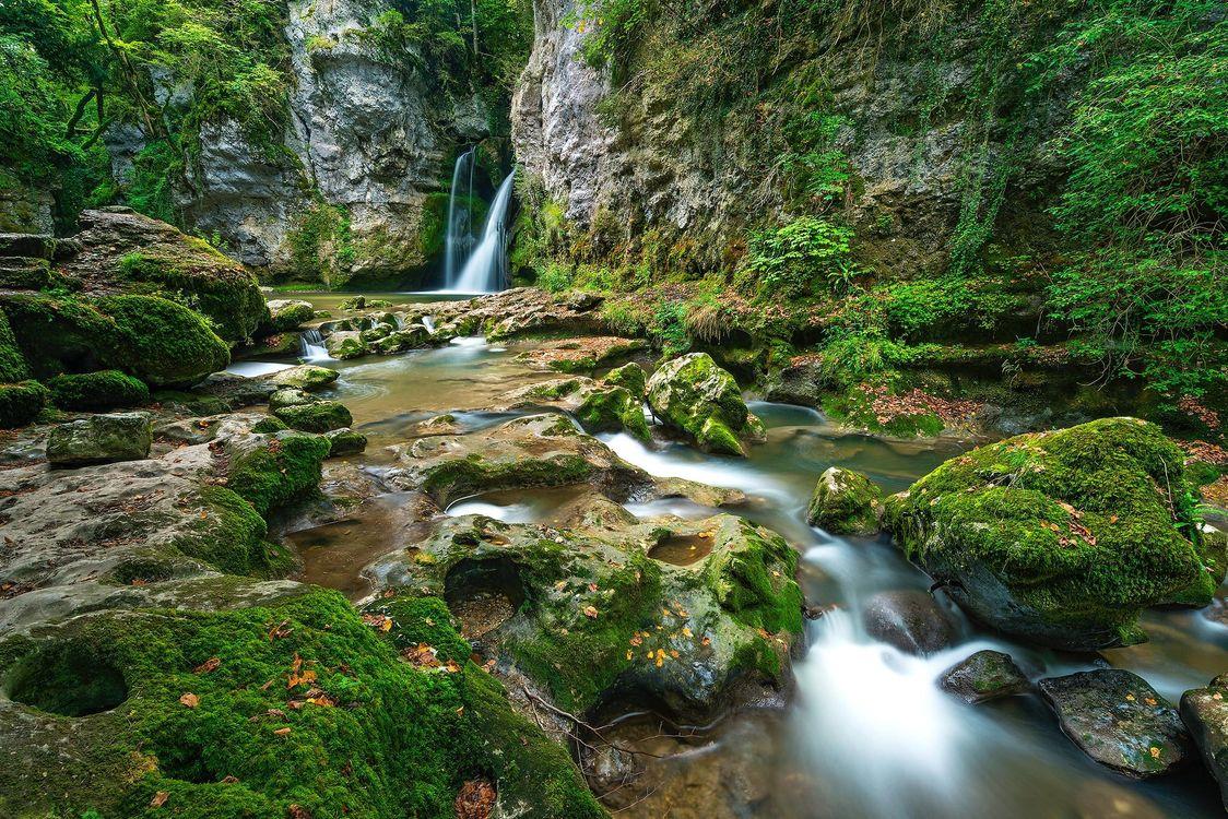 Фото бесплатно водопад, лес, деревья, скалы, природа, природа