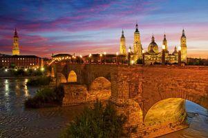 Бесплатные фото Мост из камня,Сарагоса,закат,Испания