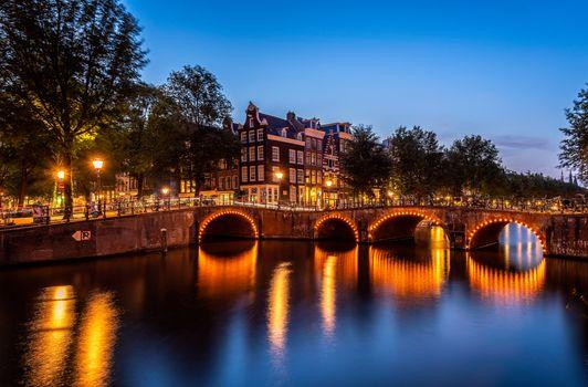 Фото бесплатно Amsterdam, огни, освещение