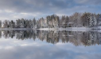 Заставки озеро, снег, отражение