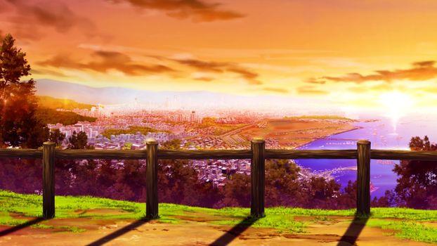 Photo free anime landscape, sunset, visual novel