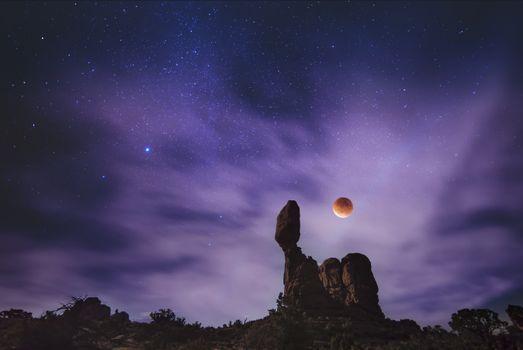 Фото бесплатно планета, звездное небо, скала