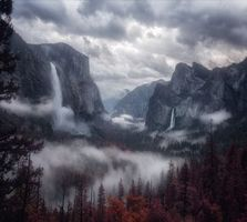 Бесплатные фото горы,туман,деревья,небо,mountains,fog,trees