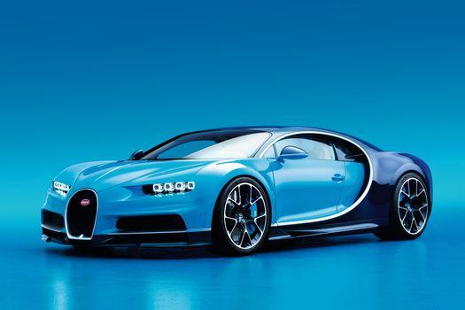 Фото бесплатно Bugatti Chiron, aqua, вид сбоку