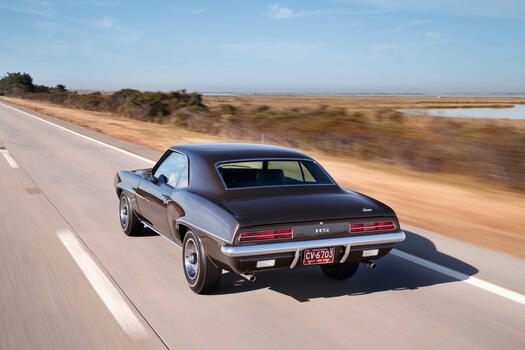 Photo free Chevrolet Camaro, black car, view from behind