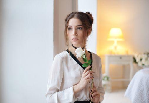 Photo free Kseniya Kokoreva, white rose, looking