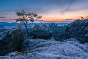 Фото бесплатно Ленфрифская сосна, Саксонская Швейцария, закат