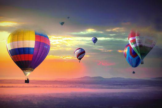 Photo free sky, sunset, balloons