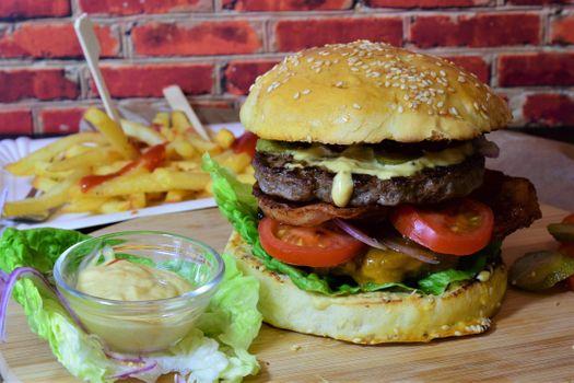 Photo free hamburger, fast food, french fries