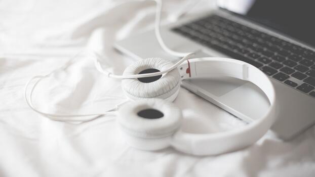 Photo free notebook, white headphones, hi-tech