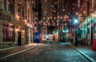 Заставки Нью-Йорк,США,город,ночь,улица,освещение,фонари