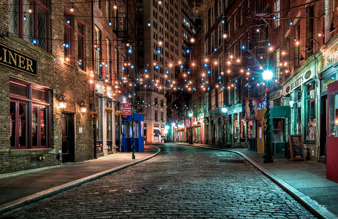 Free photo New York, USA, city, night, street, lighting, lights - to desktop